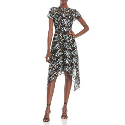 Adrianna Papell Embroidered Asymmetrical Dress for girl Blue Multi Selling Well RABQ321