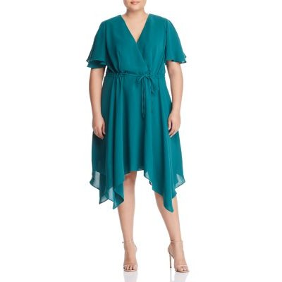 Adrianna Papell Plus Handkerchief-Hem Faux-Wrap Dress for girl Bright Palm Green OXOP861