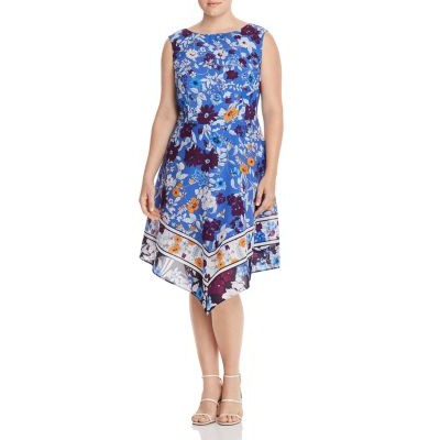 Adrianna Papell Plus Sleeveless Floral-Print Dress Women Multi Collection LYWP544