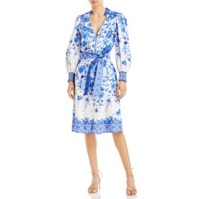 Alice and Olivia Clothing Shanley Floral Print Shirt Dress for women Forget Me Not Multi evening Trends CNND537