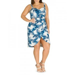 City Chic Plus Clothing Hawaii Pinup Printed Faux-Wrap Dress Girl Hawaii definition ZIRB977