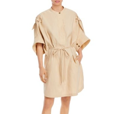 3.1 Phillip Lim Knotted Sleeve Mid Length Dress Girls Beige by lori LMRL923