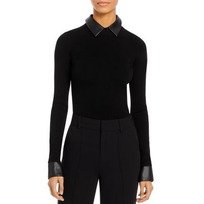 Alice and Olivia Clothing Dory Faux Leather Trim Pullover Girl Black/Black Business Casual ILAR659
