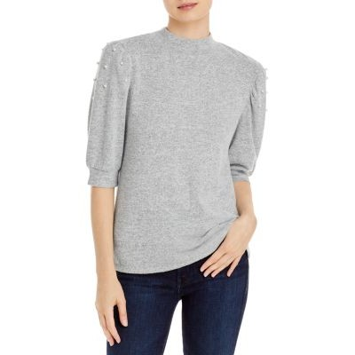 Alison Andrews Puff Shoulder Sweater Girls Gray/White size xs the best LPNI246