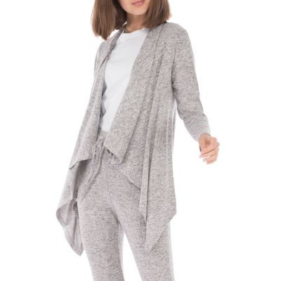 B Collection by Bobeau Clothing Amie Drape Front Cardigan for women Heather Gray New Arrival QXTR838