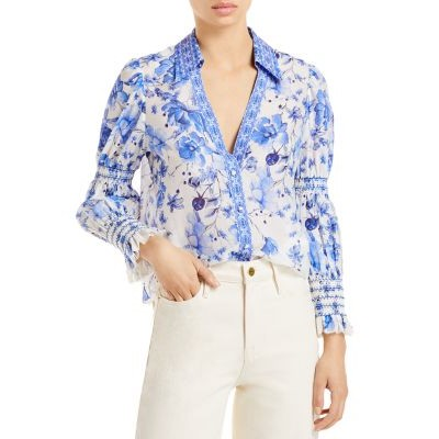 Alice and Olivia Top Cosima Printed Blouse Girl FORGET ME NOT MULTI WEEX645