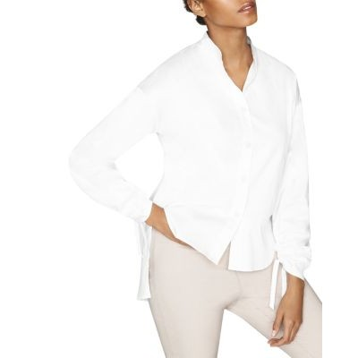 b new york Conscious Pleat Sleeve Button Down Women G-white for girls GNCS628