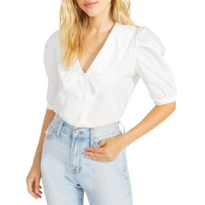 BB DAKOTA Tops Might Be Time Embroidered Blouse Women Bright White boutique SUVS653