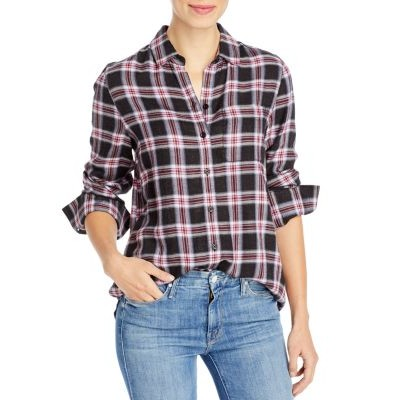 BeachLunchLounge Whitney Plaid Button-Down Blouse Girl Feather for girls Top Sale HKCI685