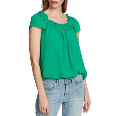 CeCe Clothing Ruffled Square-Neck Top for girl Luxe Green TAPB588