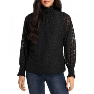 VINCE CAMUTO Animal Print Smocked Top for women Rich Black AYPO141