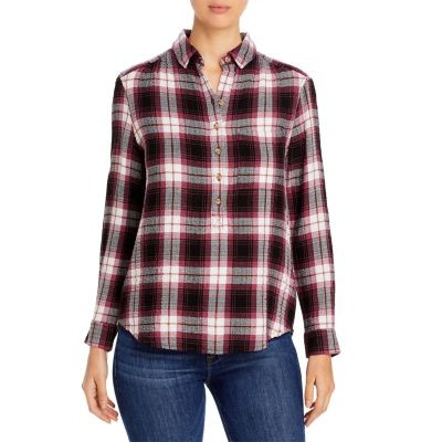 BeachLunchLounge Clothing Drew Plaid Popover Top for women Dusty Rose size 8 ICUQ688