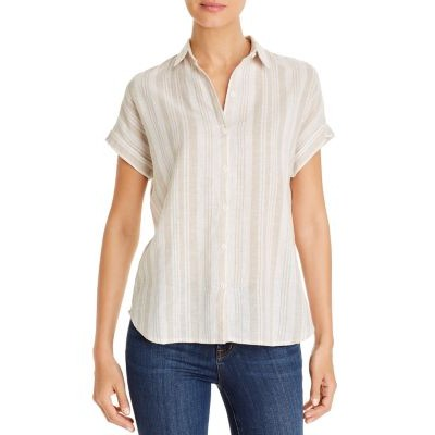 BeachLunchLounge Clothing Striped Button-Front Top Girl Sand Shell size 6 Trends QUDN174