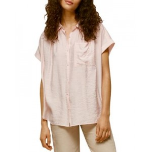 Whistles Clothing Nicola Relaxed-Fit Shirt Girls Pale Pink 5X YKDR324