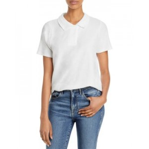 Goldie Top Pointelle Polo Shirt Girl White Collection ECDR799