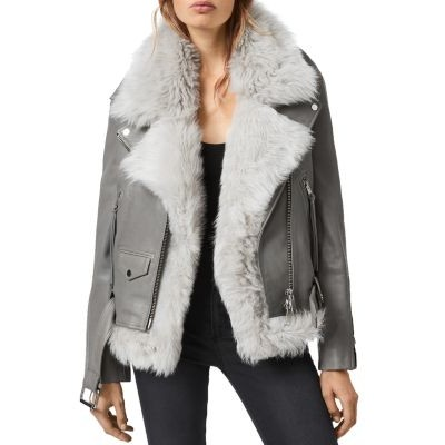 ALLSAINTS Women's Leather Biker Jacket with Removable Fur Gilet Ice Gray Selling Well XDWJ520