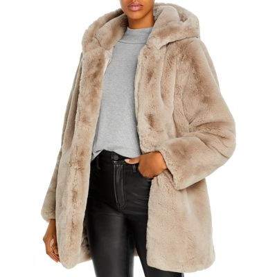 Apparis Young Ladies Clothing Maria Hooded Faux-Fur Coat Taupe size 22/24 BZKZ536