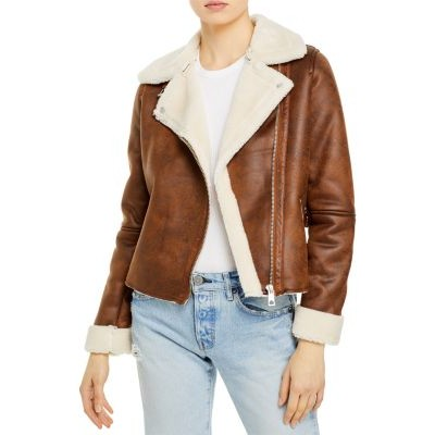 AQUA Young Ladies Clothing Faux Suede & Faux Shearling Moto Jacket - 100% Exclusive Cognac/Ivory tall size 8 New VJQL708