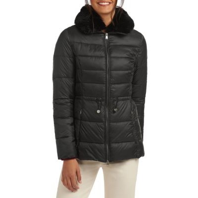 Barbour Girl's Clothing Angus Faux Fur Collar Quilted Coat Black tall GNDQ814