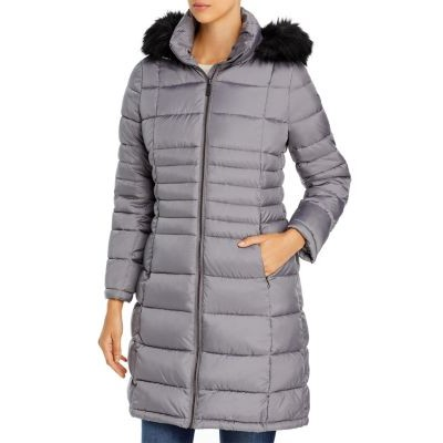 Calvin Klein Women Hooded Faux Fur Trim Puffer Coat Granite for cold weather tall sizes RXVX849