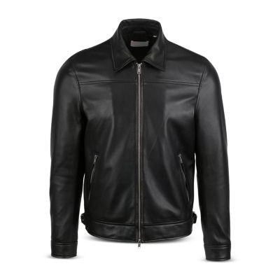 7 For All Mankind Clothes Nappa Leather Jacket for Men Black big and tall ASQC733