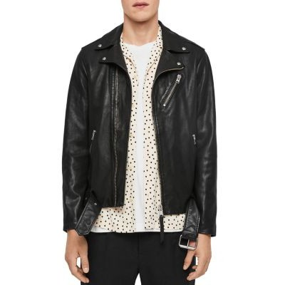 ALLSAINTS Clothing Rigg Leather Biker Jacket for Young Boy Black Cut Off UXXT788