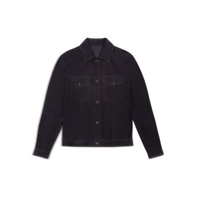 Bally Outwear Leather Regular Fit Shirt Jacket for Men Navy high quality ANMS240
