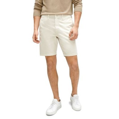7 For All Mankind Pants Go-To Cotton Stretch Twill Classic Fit Chino Shorts for Boy Stone 30 inch waist Cut Off RKAP403
