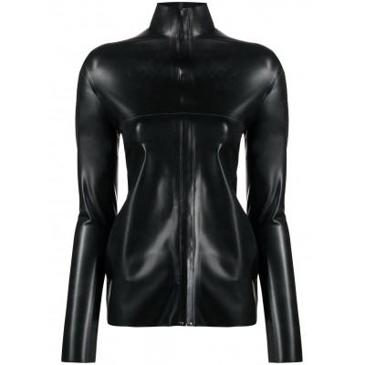 Kwaidan Editions faux-leather fitted zip-up top plus size for Lady ZPDS922