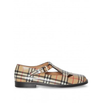 Burberry Vintage Check Leather T-Bar Shoes for wide feet Girls sale next CTNJ460