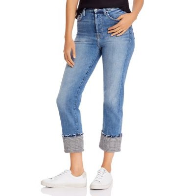 7 For All Mankind Clothing Cuffed Plaid-Trim Jeans - 100% Exclusive for women Luxe Vintage Muse Plaid OCND682