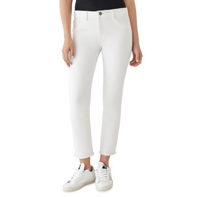 DL1961 Clothing Mara High Rise Instasculpt Straight Ankle Jeans in Oak Girl Oak in tall sizes on style MMHG921